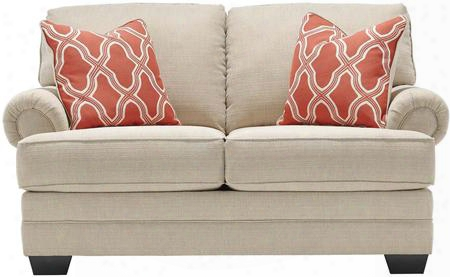 "Sansimeon 7990435 65"" Stationary Fabric Loveseat With Toss Pillows Included Rolled Arms And Coil Seat Cushions In Stone"