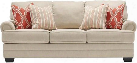 "Sansimeon 7990438 87"" Stationary Fabric Sofa With Toss Pillows Included Rolled Arms And Coil Seat Cushions In Stone"