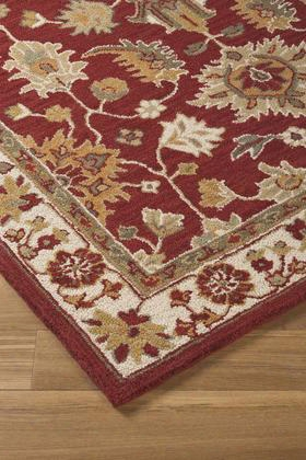 "Scatturro R401641 120"" X 96"" Large Size Rug With Botanical Design Hand-tufted 5-6mm Pile Height Wool Material And Backed With Cotton Latex In Red"