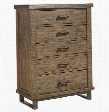 "Dondie B663-46 40"" 5-Drawer Chest with Distressed Detailing Metal Legs and Wooden Drawer Glides in Warm"