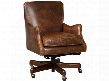 "Imperial Series EC438-089 35"" Traditional-Style Empire Home Office Tilt Swivel Chair with Piped Stitching Adjustable Height and Leather Upholstery in Dark"