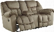 "Jodoca 3660191 81"" Reclining Power Loveseat with Console Glider Dual Cup Holders Pillow Top Arms Metal Frame and Fabric Upholstery in Driftwood"