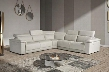 VGNTPALINUROGRY Estro Salotti Palinuro Sectional Sofa with Italian Made Electronic Recliners Adjustable Headrests Wood Legs and Leather Upholstery in Pearl
