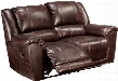 "Yancy 2920086 80"" Leather Match Reclining Loveseat with Padded Arms Split Back Design and Jumbo Stitching Details in Walnut"