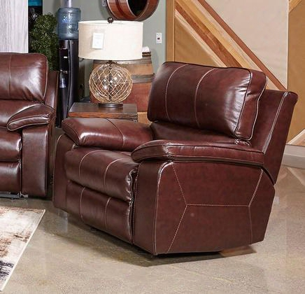 "Transister 5130213 42"" Leather Match Power Rocker Recliner With Adjustable Headrest Padded Arms And Split Back Design In Coffee"
