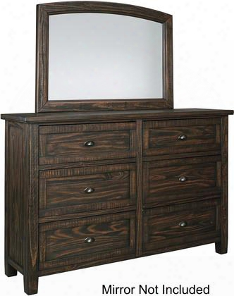 "Trudell B658-31 66"" 6-drawer Dresser With Bin Pull Hardware Wire Brushed Details And Wooden Center Drawer Glides In Dark"