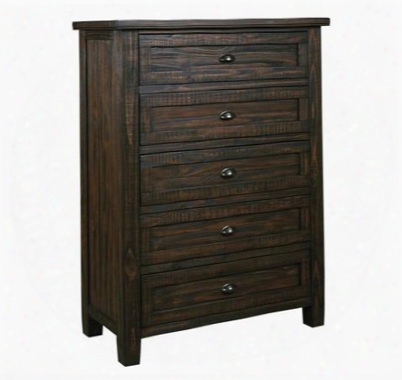 "Trudell B658-46 39"" 5-drawer Chest With Bin Pull Hardware Wire Brushed Details And Wooden Center Drawer Glides In Dark"