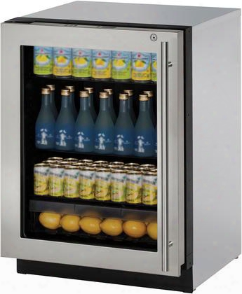 "U3024rgls15b 24"" Modular 3000 Series Glass Door Compact Refrigerator With 4.9 Cu. Ft. Capacity 3 Adjustable Glass Shelves Low-e Coated Triple Thermopane"