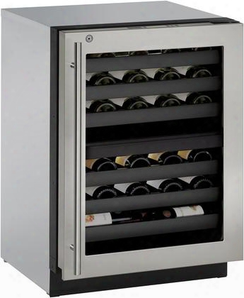 "U3024zwcs13b 24"" Modular 3000 Series Built In Wine Captain Model With 43 Wine Bottles Capacity Dual Temperature Zones Right Hinged Glass Door U Select"