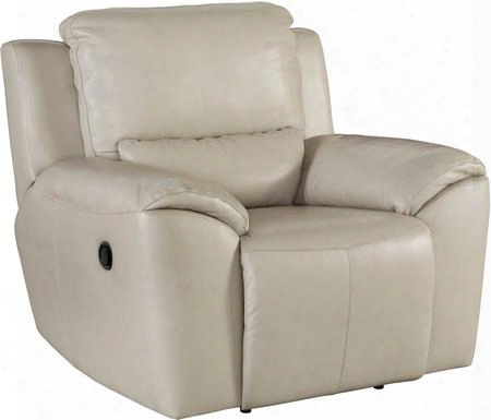 "Valeton U7350029 46"" Leather Match Zero Wall Recliner With Plush Padded Arms Jumbo Stitching Details And Split Back Cushion In Cream"