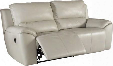 """Valeton U7350081 86"""" Leather Match 2-seat Reclining Sofa With Plush Padded Arms Jumbo Stitching Details And Burst Back Cushions In Cream"""
