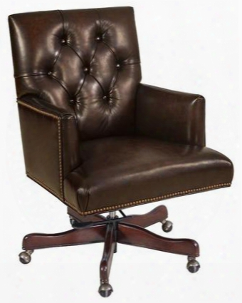 "Valor Series Ec405-089 38"" Traditional-style Chocolate Home Office Executive Chair With Tufted Back Adjustable Height And Leather Upholstery In"