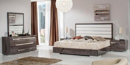 Vgaccapuletsetek Nova Domus Capulet Italian Bedroom Set  With Eastern King Size Bed 2 Nightstands Dresser Mirror White Leatherette Upholstery And Elm Veneer