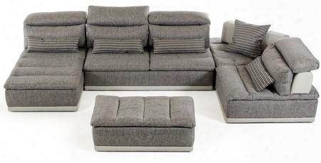 Vgftpanoramagrygry Lusso Panorama Sectional Sofa With Left Facing Chaise Adjustable Headrests Corner Stool Italian Leather And Fabric Upholstery In Grey