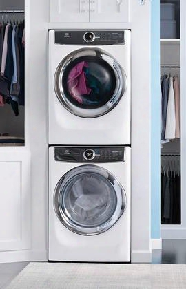 "White Front-load Laundry Pair With Eflw417siw 27"" Washer Efme417siw 27"" Gas Dryer And Stackit7x Stacking"