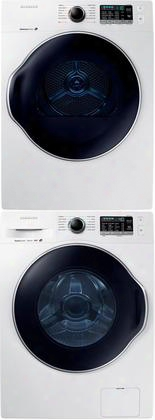 "White Front Load Laundry Pair With Ww22k6800aw 24"" Washer Dv22k6800ew 24"" Electric Dryer And Skdh Stacking"