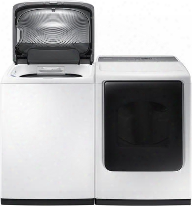 """White Laundry Pair With Wa45k7600aw 27"""" Top Load Washer And Dv45k7600gw 27"""" Front Load Gas"""