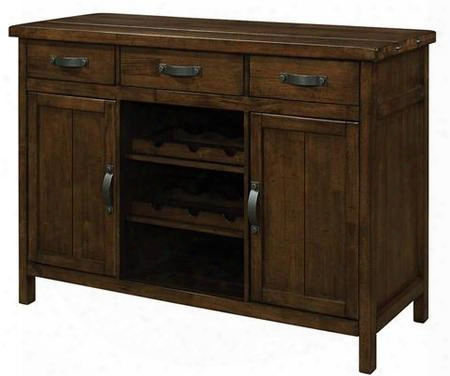 "Wiltshire 106365 52"" Server With 3 Drawers 2 Doors Removable Wine Racks And Asian Hardwood Materials In Rustic Pecan"