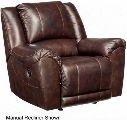 "Yancy 2920098 34"" Leather Match Power Rocker Recliner With Padded Arms Split Back Design And Jumbo Stitching Details In"