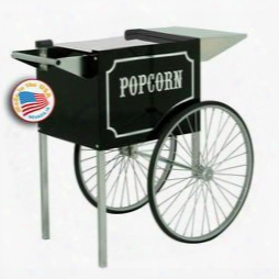 "3070820 6 & 8-oz. 22"" Black & Chrome Popcorn Machine Cart With Built-in Storage Space And Storage For"
