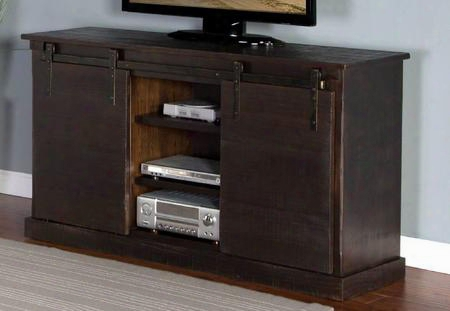 "3577co 65"" Tv Console With Sliding Farm Door Hand Sawn Weathered Distressing And Adjustable Shelves In Charred Oak"