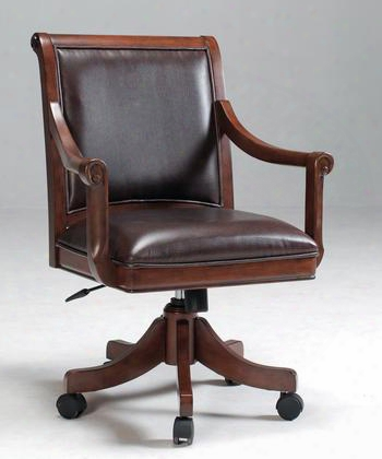 "4185-800 Palm Springs 36-38.5"" Caster Game Chair With Piped Stitching Distressed Detailing And Casters Medium Brown Cherry Leather"