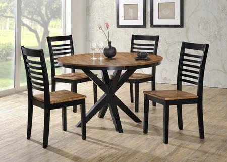 "5008-4802 Phoenix 48"" Dining Table And 4 Chairs With Distressed Detailing And Tapered Legs In Ebony And"