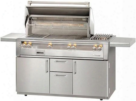 """Alxe-56szc-ng 56"""" Natural Gas Sear Zone Grill With Side Burner In Cart Deluxe With 82500 Btu Rotisserie And Built-in Motor In Stainless"""