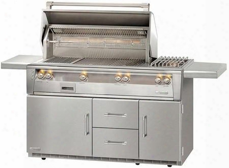 "Alxe-56szrlp 56"" Standard Grill Liquid Propane On Refrigerated Base With Side Burner Sear Zone In Stainless"