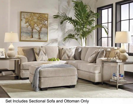 Ameer 81806-66-56-08 2-piece Living Room Set With 2pc Right Arm Facing Loveseat Sectional And Oversized Accent Ottoman In Sand