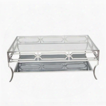 """Avalon Avalonct 50"""" Cocktail Table With Stainless Steel Base Clear Tempered Glass Top And Mirrored"""