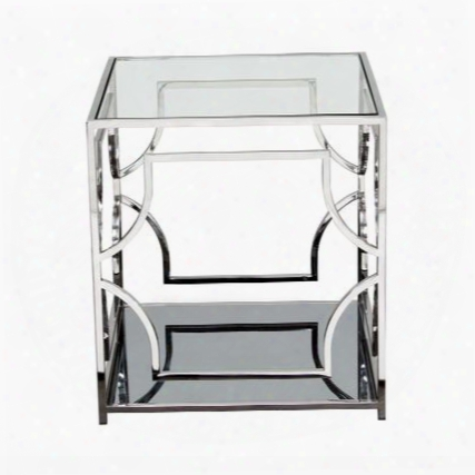 "Avalon Avalonet 22"" End Table With Stainless Steel Base Clear Tempered Glass Top And Mirrored"