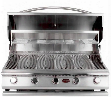 "Bbq09g05 39"" G Series Built-in Liquid Propane Grill With 430 Stainless Steel Construction 5 Porcelain-coated Cast Iron Burners V-grates And Temperature"