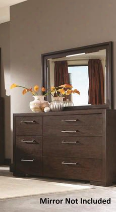 "Berkshire 204463 64"" Dresser With 7 Drawers Chrome Hardware Full Extension Drawer Glides Asian Hardwood And Red Oak Veneer Materials In Bitter Chocolate"