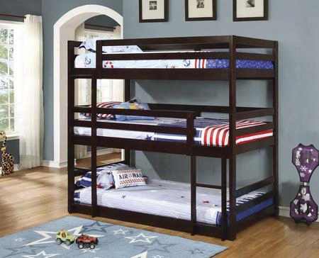 Bunks Collection 400302 Triple Twin Bunk Bed With Multiple Configurations Built-in Ladder And Solid Pine Wood Construction In Cappuccino