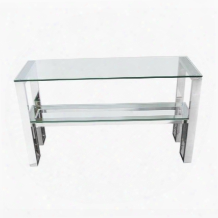 "Carlsbad Carlsbadcs 47"" Console Table With Clear Tempered Glass Top & Shelf And Stainless Steel"