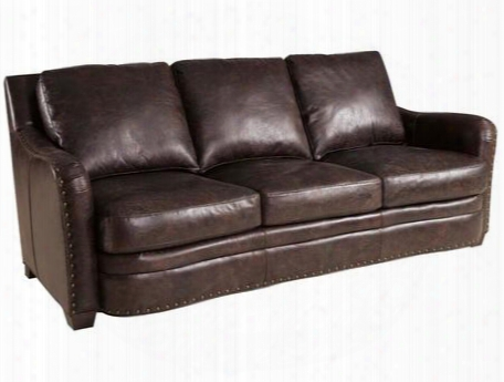 """Carriage Series Ss132-03-099 88"""" Traditional-style Living Room Sofa With Cushion Back Nail Head Accents And Leather Upholstery In Brown"""