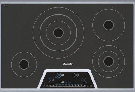"Cet304ns 30"" Masterpiece Series Electric Cooktop With 4 Heating Elements Full Stainless Steel Frame Touch Control Panel And 2-level Digital Control Panel:"