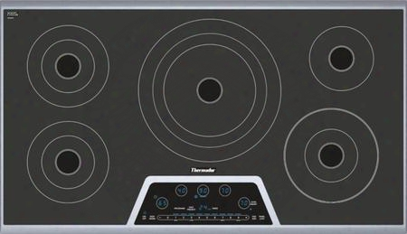 "Cet365ns 36"" Masterpiece Series Electric Cooktop With 5 Heating Elements Full Stainless Steel Frame Touch Control Panel And 2-level Digital Control Panel:"