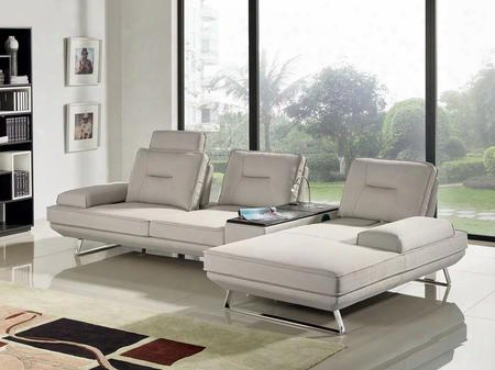 "Contempo Contempo3pcsd 116"" 3 Pc Sectional With Left Arm Facing Sofa Right Arm Facing Chaise Adjustable Backrests Media Storage Console And Fabric"