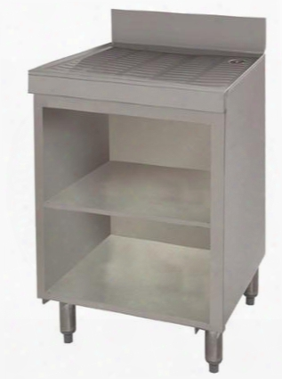 "Crd-2bm-x Underbar Drainboard With 4"" Backsplash Adjustable Bullet Feet And Midshelf In Stainless"