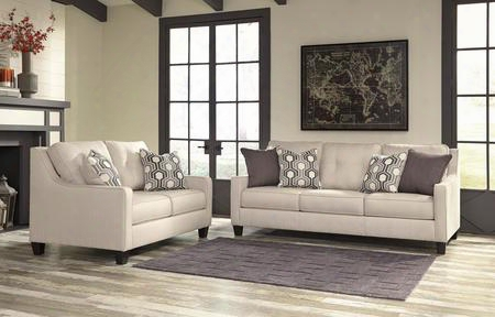 Guillerno 71801sl 2-piece Living Room Set With Sofa And Loveseat In Alabaster