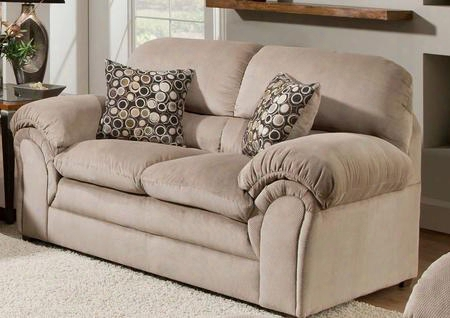 Harper 6150-02 69&qut; Loveseat With Plush Padded Arms Fabric Upholstery And Block Feet In