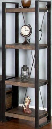 "Homestead Collection 3568tl-p 72"" Pier With Turnbuckle Accents 4 Fixed Shelves And Metal Framing In Tobacco Leaf"