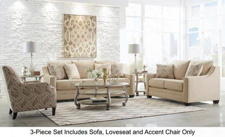 Mauricio 81601-38-35-21 3-piece Living Room Set With Sofa Loveseat And Accent Armchair In Linen