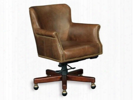 """Parthenon Series Ec443-088 31"""" Traditional-style Temple Home Office Tilt Swivel Chair With Casters Adjustable Height And Leather Upholstery In Medium"""