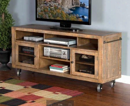 "Puebla Collection 3581dw-64 64"" Tv Console With 4 Locking Caster Wheels Adjustable Shelf And Two Side Doors With Metal Mesh In Drift Wood"