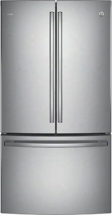 "Pwe23kskss 36"" Energy Star Counter Depth French Door Refrigerator With 23.1 Cu. Ft. Capacity Internal Water Dispenser Twinchill Evaporator And Showcase Led"