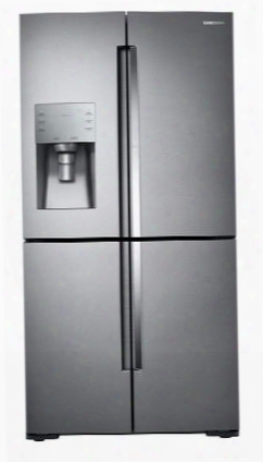 "Rf28k9380sr 36"" 4-door Refrigerator With 28 Cu. Ft. Capacity Water And Ice Dispenser Flexzoen Food Sh Owcase And Triple Cooling System In Stainless"