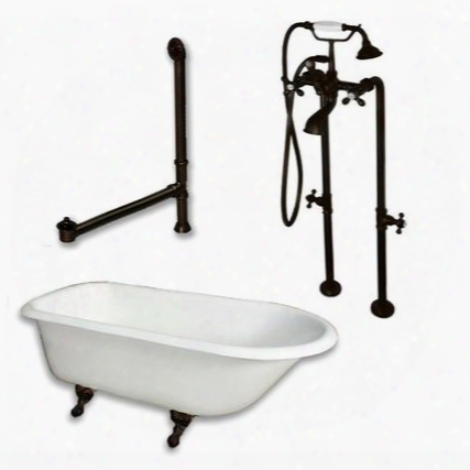 "Rr61-398463-pkg-orb-nh Cast Iron Rolled Rim Clawfoot Tub 61"" X 30"" With Complete Free Standing British Telephone Faucet And Hand Held Shower Oil Rubbed Bronze"